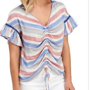 For the Republic Ruched Ruffle Blouse Size Medium